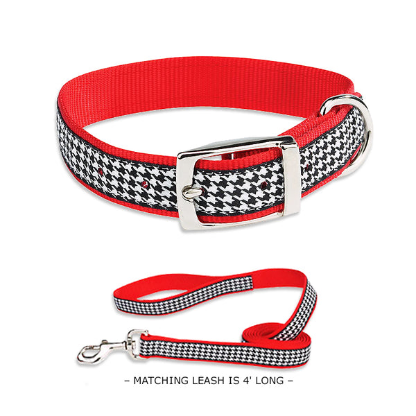 Black Houndstooth Small Dog Collar or Leash