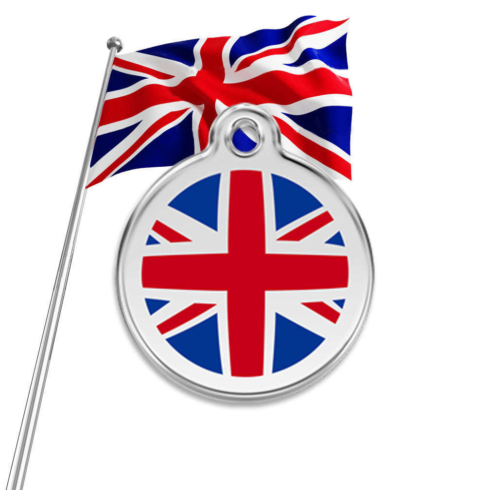 UK Flag Dog ID Tag, , ID Tag, Small Dog Mall, Small Dog Mall - Good things for little dogs.  - 1