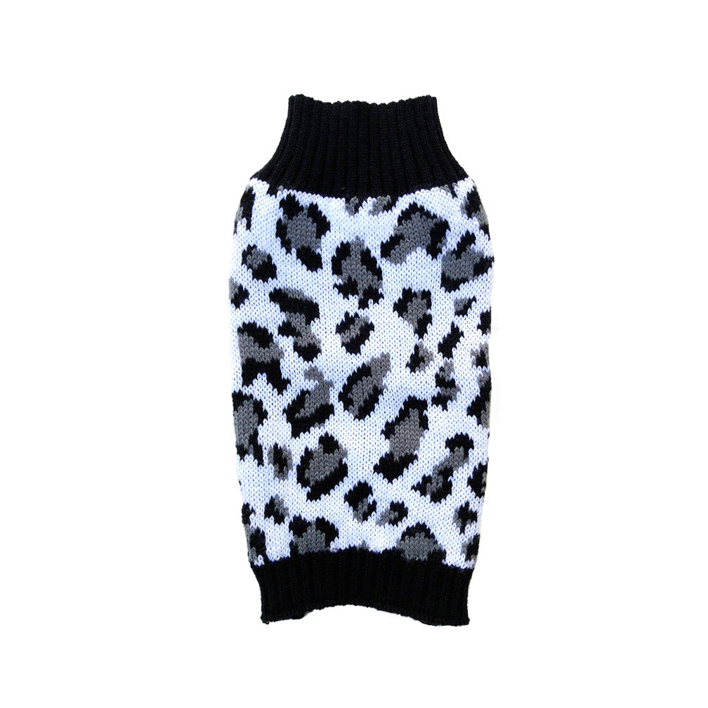 Black & White Animal Print Dog Sweater, , Sweaters, Small Dog Mall, Small Dog Mall - Good things for little dogs.  - 1