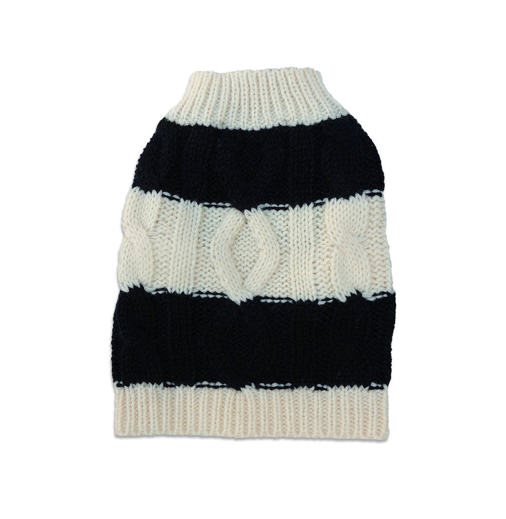 Black & White Stripe Dog Sweater, , Sweaters, Small Dog Mall, Small Dog Mall - Good things for little dogs.  - 1