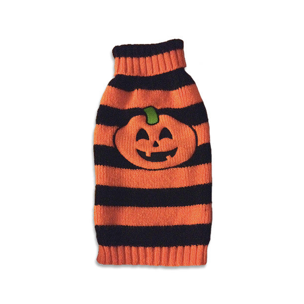 Pumpkin Stripe Dog Sweater, , Sweaters, Small Dog Mall, Small Dog Mall - Good things for little dogs.  - 1