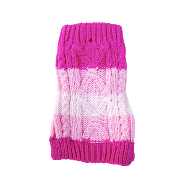 Tonal Pink Stripe Dog Sweater, , Sweaters, Small Dog Mall, Small Dog Mall - Good things for little dogs.  - 1