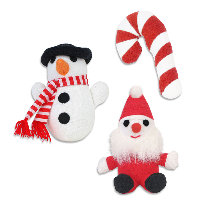 Mini Size Santa, Frosty Snowman, Candy Cane Small Dog Holiday Toys