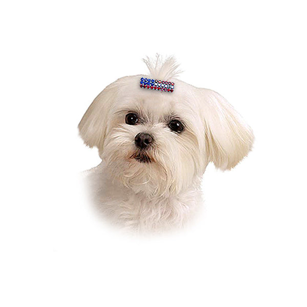Crystal Flag Barrette for Dogs, , 4th July, Small Dog Mall, Small Dog Mall - Good things for little dogs.  - 1