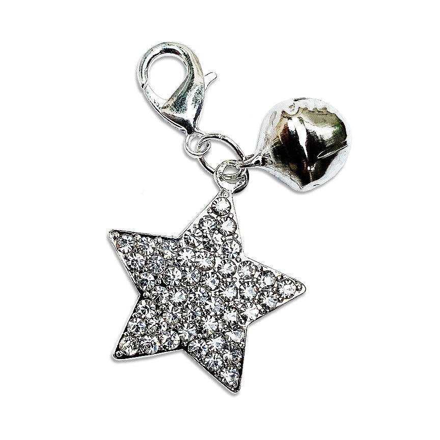 Sparkly Star and Bell Dog Collar Charm