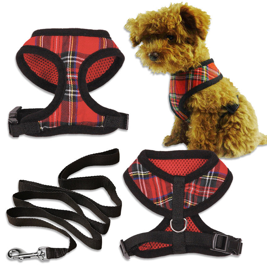 Small Dog Mall Red Tartan Plaid Harness for Small Dogs