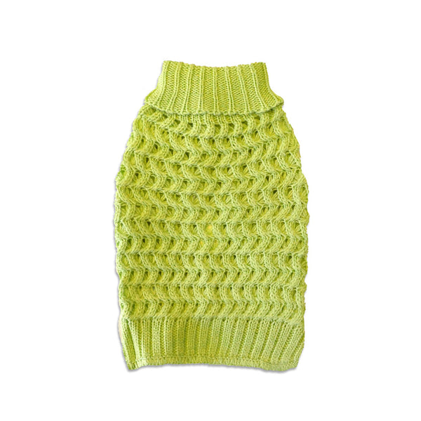 Acid Green Waffle Weave Dog Sweater, , Sweaters, Small Dog Mall, Small Dog Mall - Good things for little dogs.  - 1