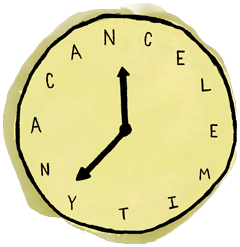 """Clock with text """"Cancel Anytime"""" いつでも解約 時計のイラスト"""
