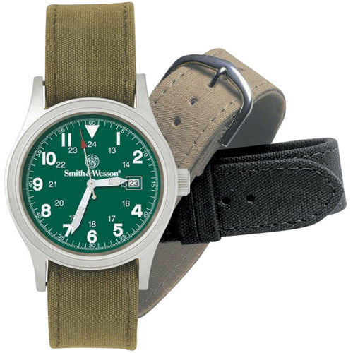 Military Watch with Three Straps
