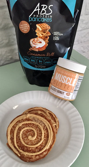 ABS & Muscle Butter Glazed Cinnamon Roll Protein Pancakes