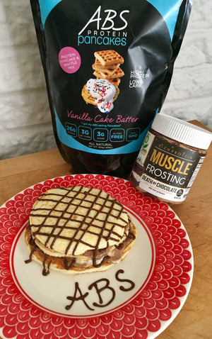 ABS Vanilla Cake Batter Pancakes with Death by Chocolate Muscle Frosting