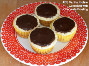 ABS Vanilla Protein Cupcakes with Chocolate Frosting