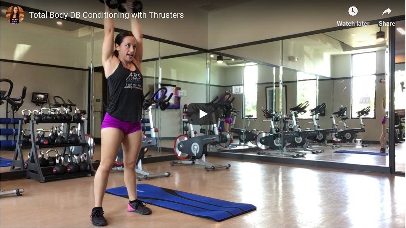 Dumbbell Conditioning Strength Circuit with Thrusters Full Workout