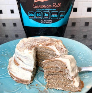 Cinnmon Roll Protein Pancakes with Protein Icing