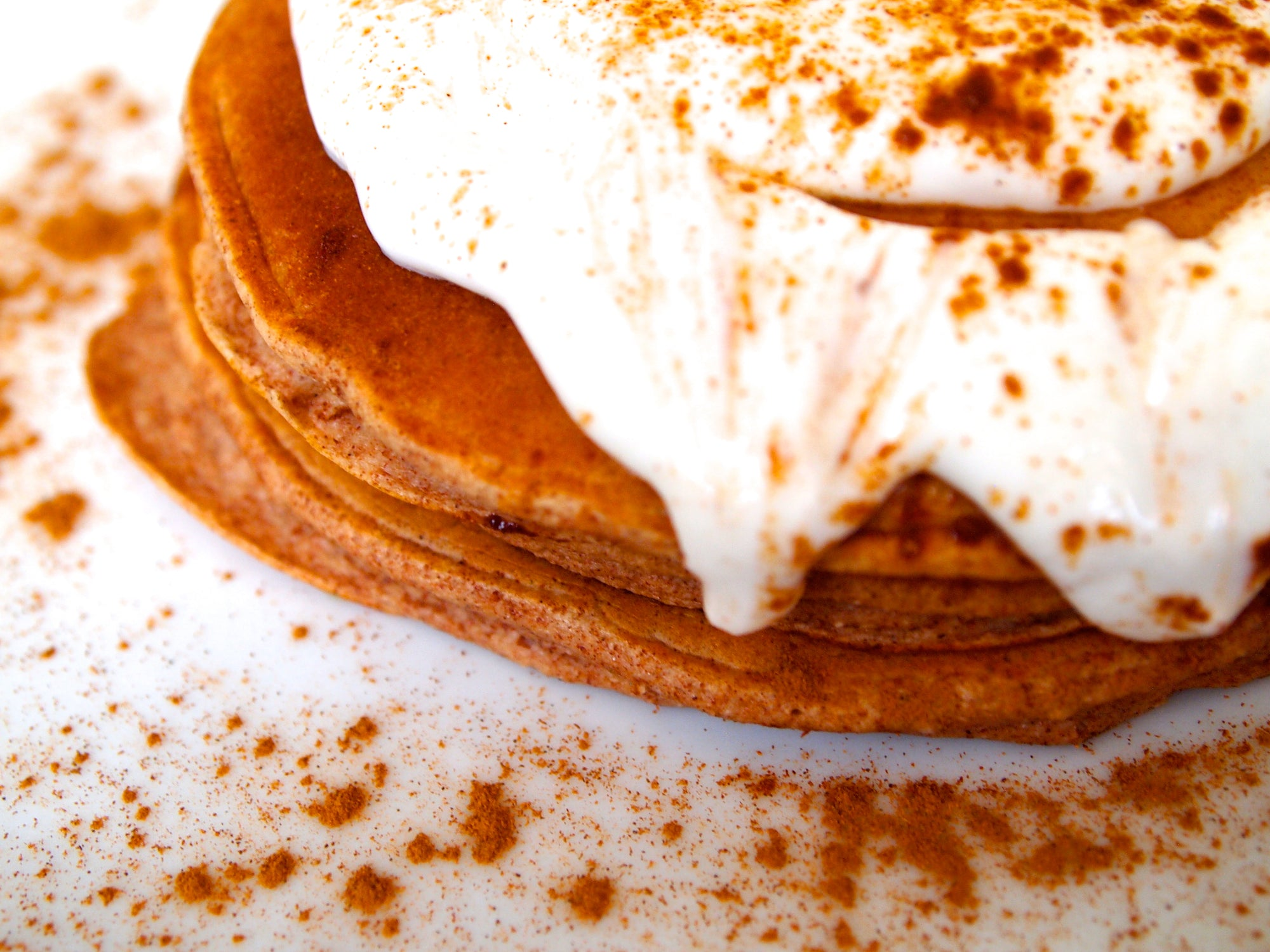 Cinnamon Roll Protein Pancakes with Healthy Icing