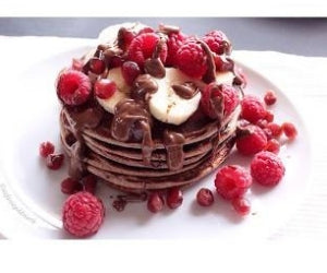 Dark Chocolate Raspberry Protein Pancakes