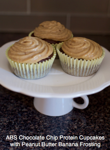 ABS Chocolate Chip Protein Cupcakes with Peanut Butter Banana Frosting