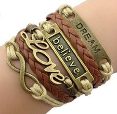 leather bracelet dream, believe, love