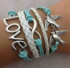 leather bracelet love, infinity two birds