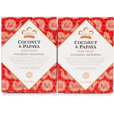 Nubian Heritage Coconut & Papaya Bar Soap Polishing & Renewing 5 Ounce - LocoBeauty