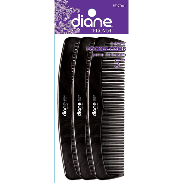 Diane Comb D7041 Pocket Black 3 Pack 5""