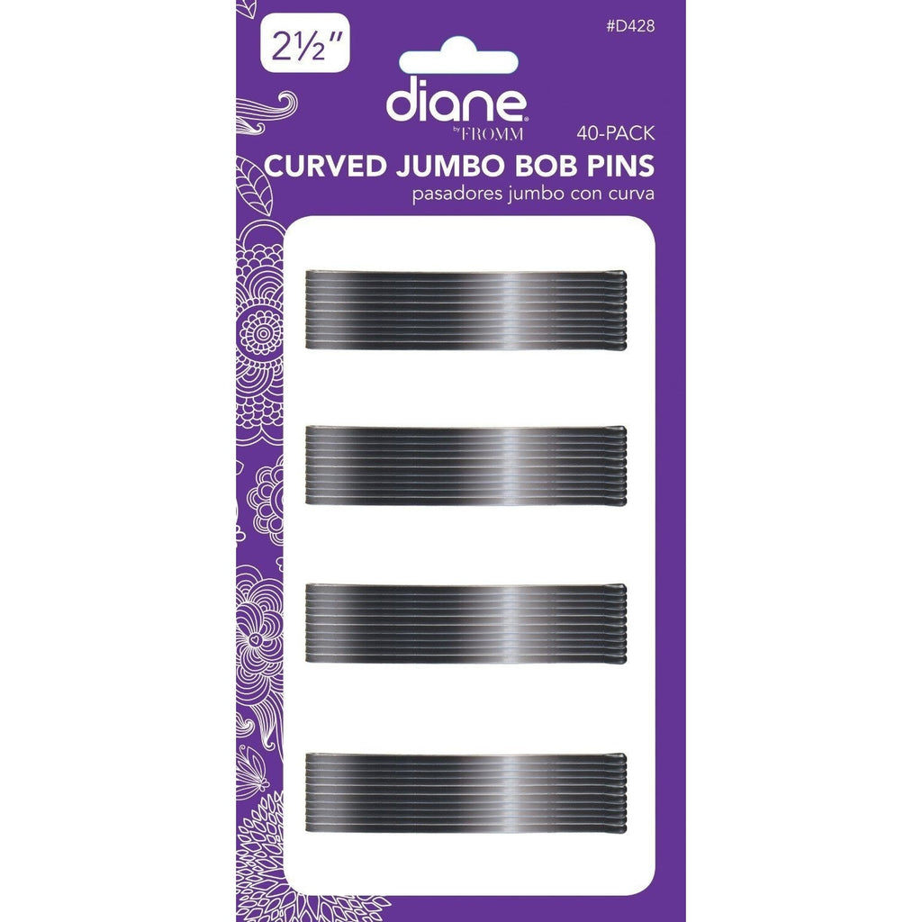 "Diane Curved Jumbo Bob Pins D428 2-1/2"" Black 40-Pack"