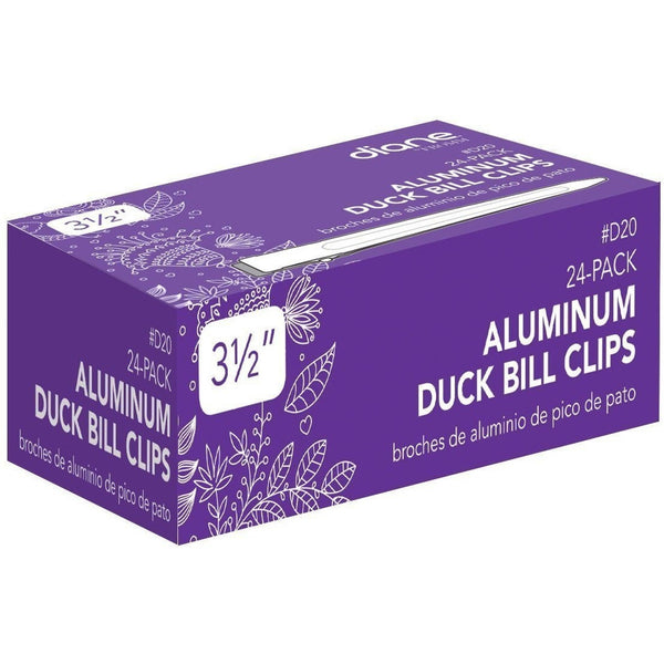 "Diane Duck Bill Clips Aluminum 3-1/2"" 24-Pack D20"