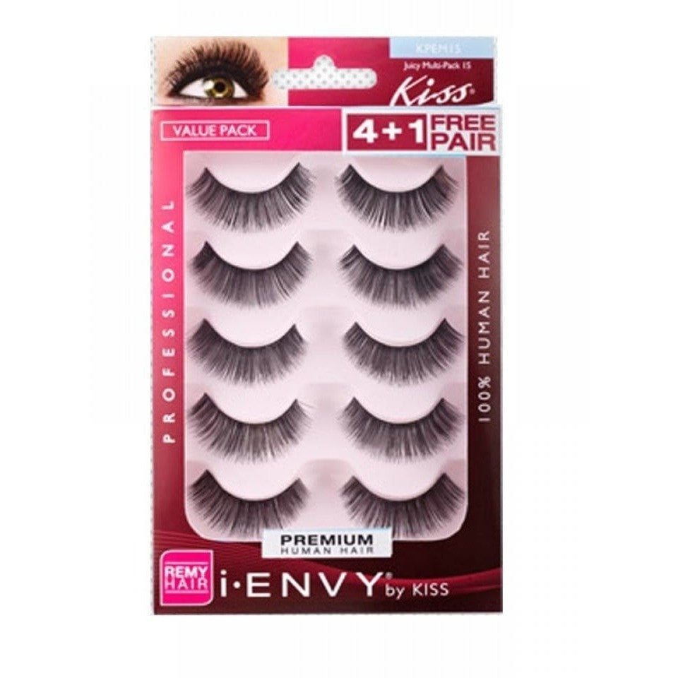 Kiss i.ENVY Premium Human Hair Juicy Multipack 15 4+1 Free Pair KPEM15