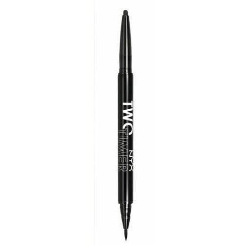 NYX Cosmetics Two-Timer Dual Ended Eyeliner Black: Buy NYX Cosmetics Eyeliners - Having it all is possible with this incredibly edgy new makeup weapon from NYX. The combination of the precision of liquid liner with the ease of application of an eye crayon is the perfect match to create a variety of dramatic looks. When the cat eye meets the smoldering intensity of a smoky eye look, who knows where the night will take you?Details provided