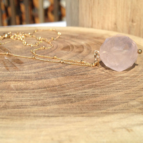 Rose Quartz Ball Necklace - Lolabean