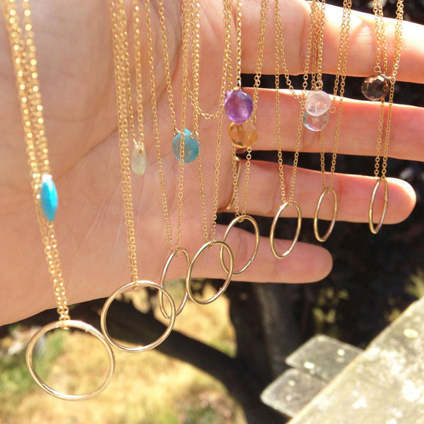 Gemstone + Circle Gold Necklace