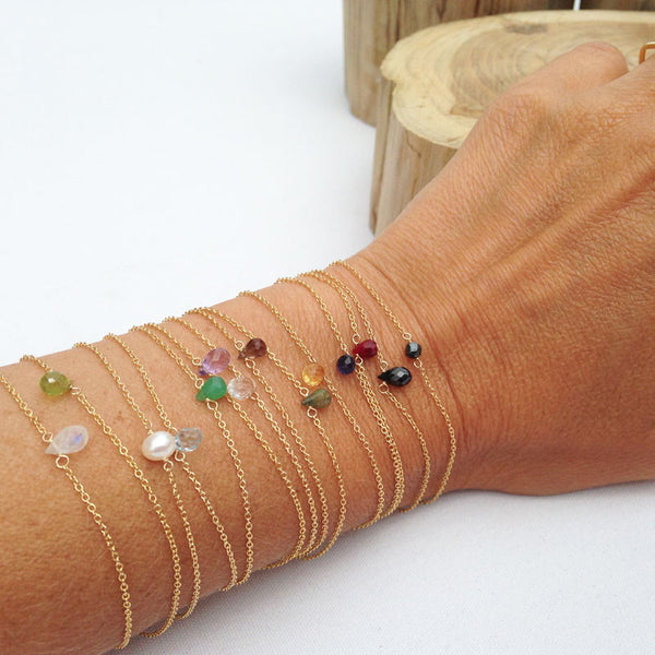 Tiny Gold Gemstone Bracelets - Lolabean