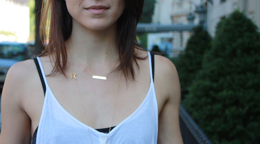 rectangular bar necklace