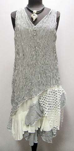 Two-Piece Sleeveless Dress/Tunic - White with Black Stripe
