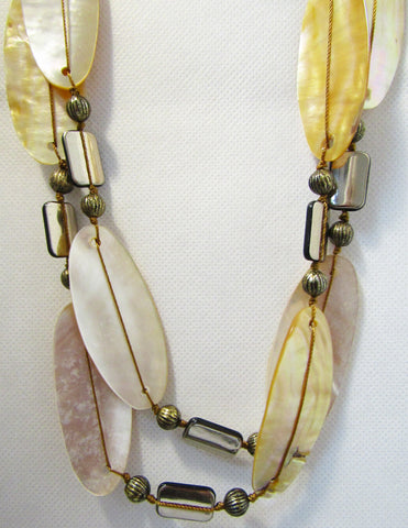 Mother of Pearl Shells 2-Strand Necklace