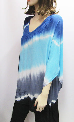 Gauzy Shades of Blue Tie Dye Poncho