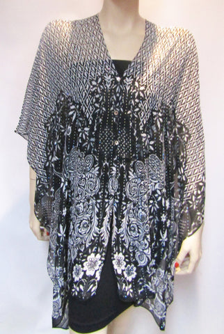 Stunning Iridescent Rhinestone Silky Sheer Button Poncho -  Black & White Peacock