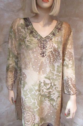 Embellished Sheer Tunic - Plus Size