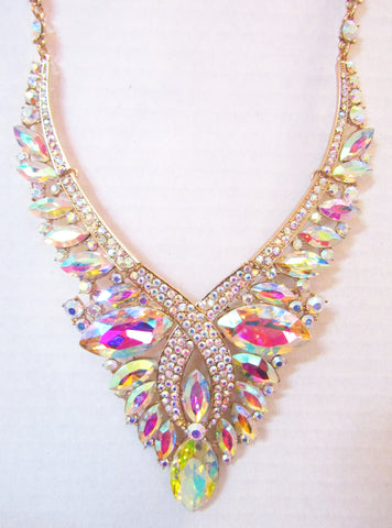 AB Rhinestone Statement Necklace Set