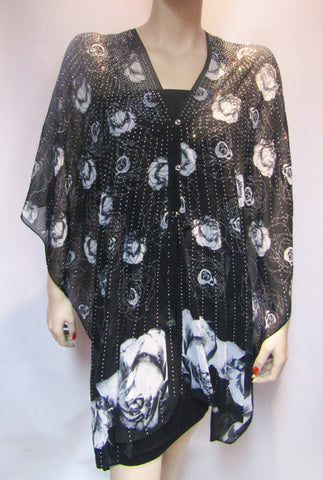 Iridescent Rhinestone Silky Sheer Button Poncho -  White Rose on Black