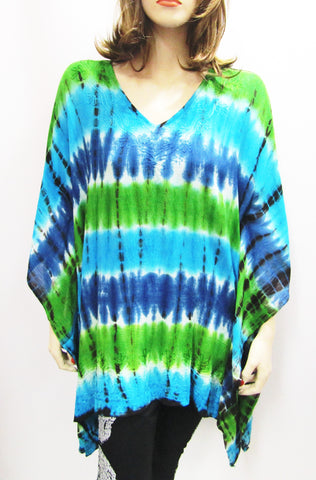 Gauzy Shades of Blue & Green Tie Dye Poncho
