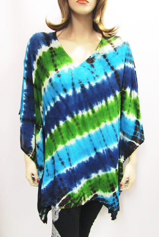 Gauzy Poncho in Shades of Diagonal Blue & Green Tie Dye