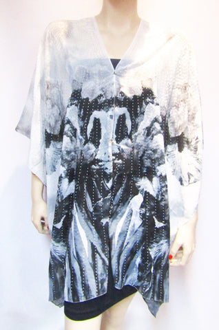 Iridescent Rhinestone Silky Sheer Button Poncho -  Black on White Floral