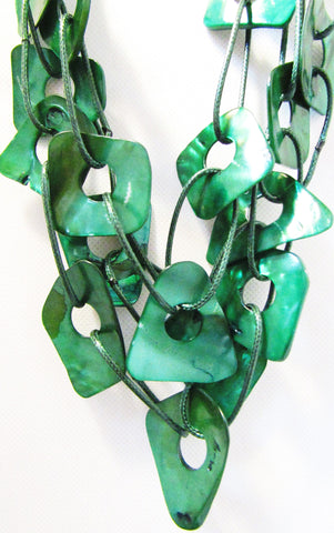Green Kabibi Shells 3-Strand Necklace