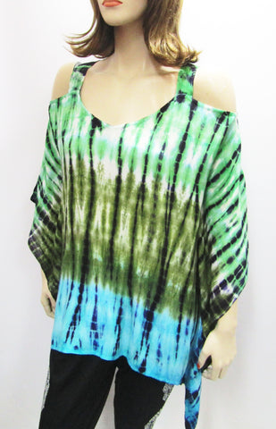Gauzy Cold Shoulder Tie Dye Poncho in Greens & Turquoise