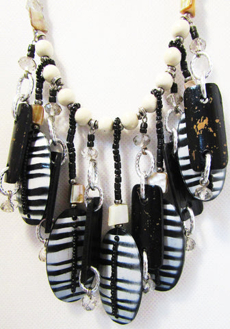 Heishe Beads with Wood Print Black & White Stripe
