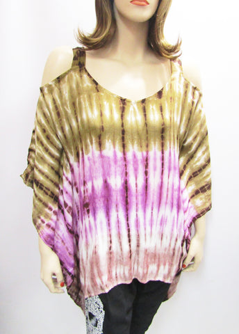 Gauzy Cold Shoulder Tie Dye Poncho in Beige & Purple