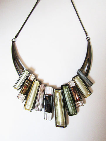 Metal Necklace Set Linked Rectangles in Silver/Olive Tones