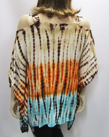 Gauzy Cold Shoulder Tie Dye Poncho in Orange & Turquoise