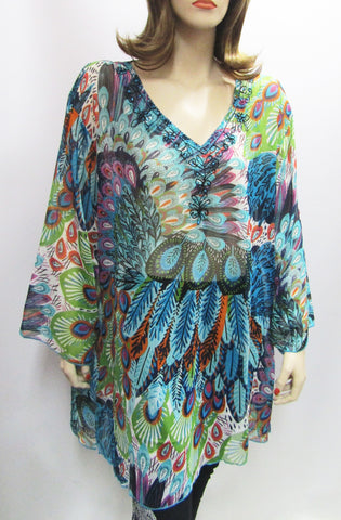 Embellished Sheer Tunic in Blue Peacock Print